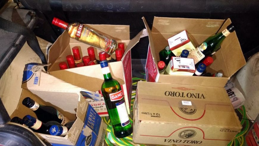 Bebidas alcohólicas secuestradas